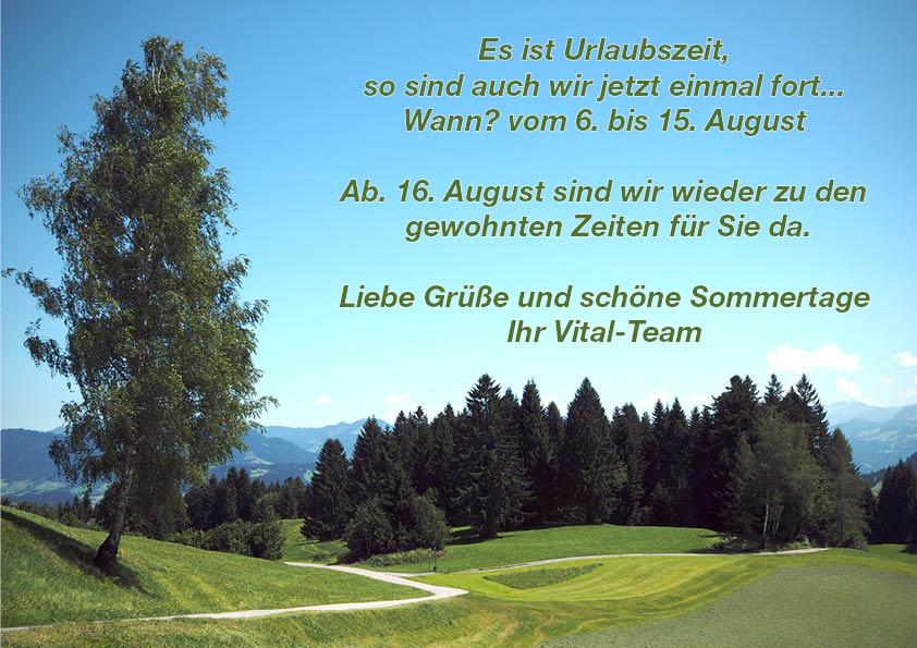 Sommerpause vom 6. bis 15. August